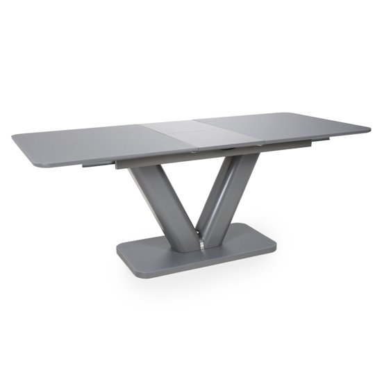Venus Extending Glass Dining Table 4 Triton Light Grey Chairs_2