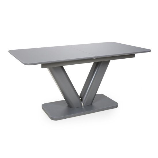 Venus Extending Glass Dining Table 4 Triton Light Grey Chairs_3
