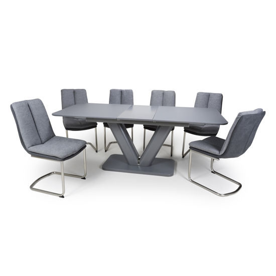 Venus Extending Glass Dining Table 4 Triton Light Grey Chairs