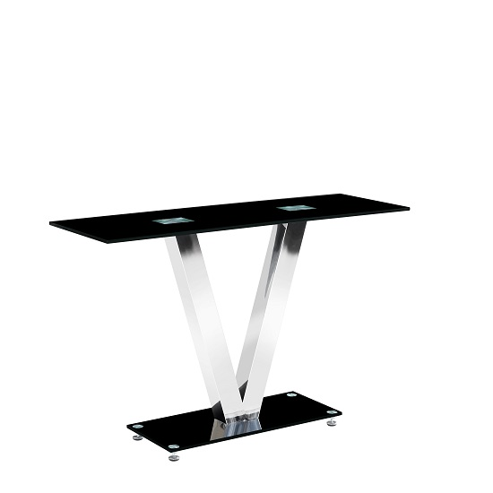 Venus Glass Console Table Rectangular In Black With Chrome