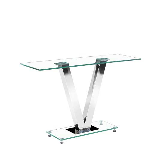 Venus Console Table Rectangular In Clear Glass And Chrome