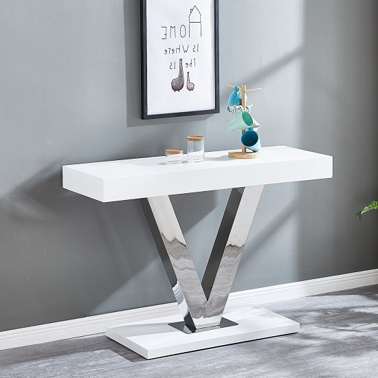 View Vera modern console table in white gloss and stainless steel