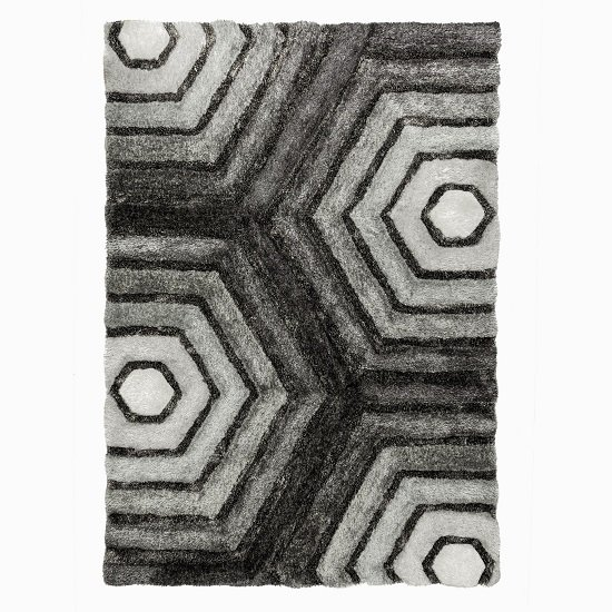 Verge Hexagon Grey Rug