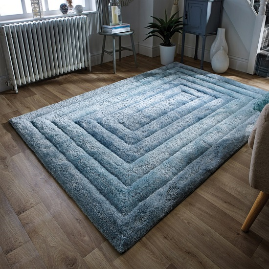 Verge Ridge Duck Egg Rug
