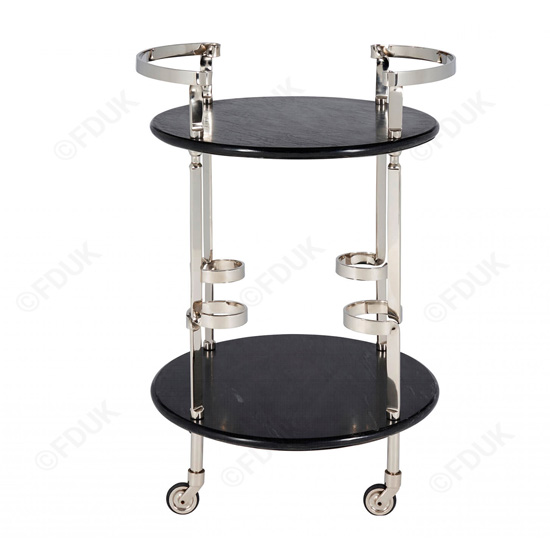 Veritate Black Marble Drinks Trolley In Nickel_2