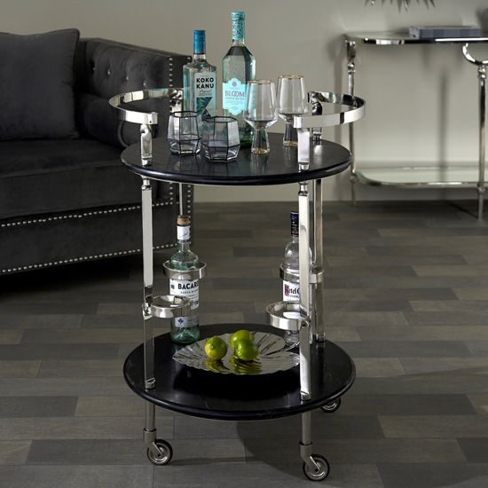 Veritate Black Marble Drinks Trolley In Nickel_1