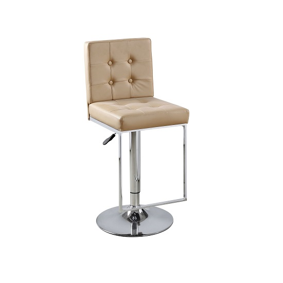Verso Bar Stool In Cappuccino Faux Leather With Chrome Base