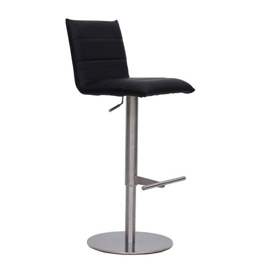 Verlo Bar Stool In Black PU With Brushed Stainless Steel Base_1