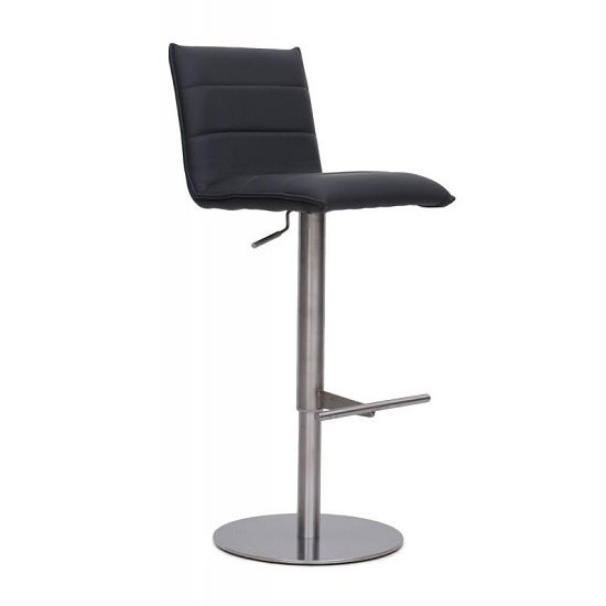 Verlo Bar Stool In Grey PU With Brushed Stainless Steel Base