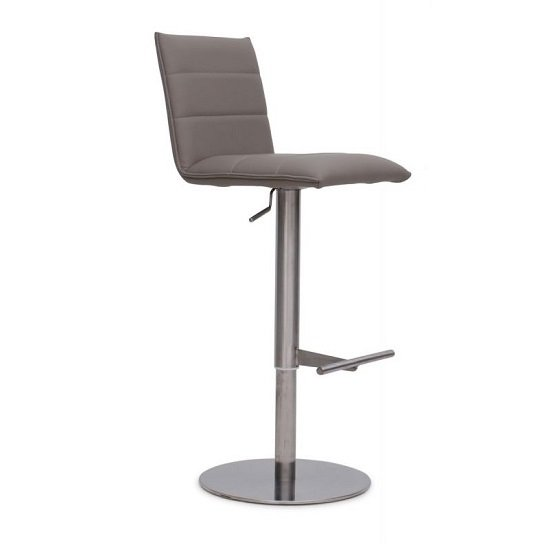 Verlo Bar Stool In Taupe PU With Brushed Stainless Steel Base_1