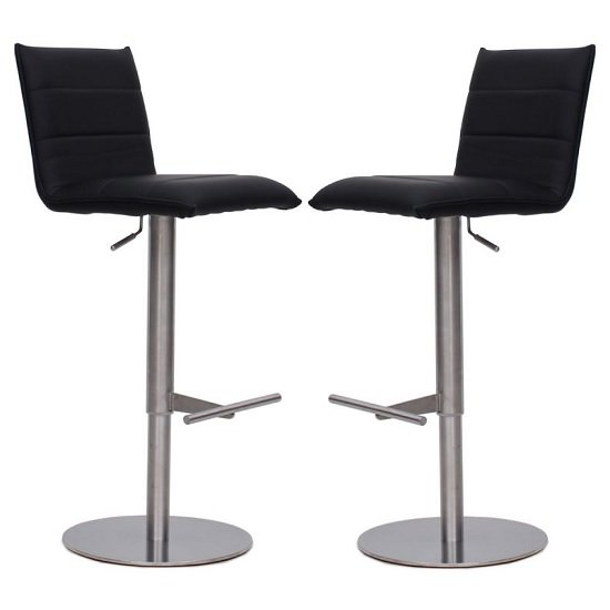Verlo Bar Stools In Black Faux Leather In A Pair