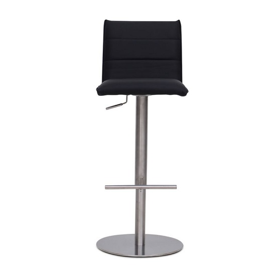 Verlo Bar Stool In Black PU With Brushed Stainless Steel Base_2