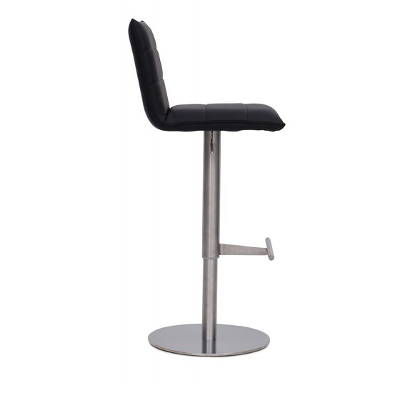 Verlo Bar Stool In Black PU With Brushed Stainless Steel Base_3
