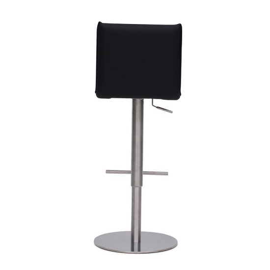 Verlo Bar Stool In Black PU With Brushed Stainless Steel Base_4