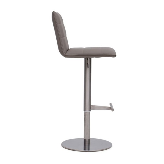 Verlo Bar Stool In Taupe PU With Brushed Stainless Steel Base_3
