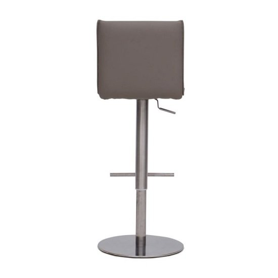Verlo Bar Stool In Taupe PU With Brushed Stainless Steel Base_4