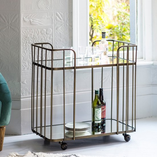 Verna Glass Shelves Drinks Trolley In Bronze