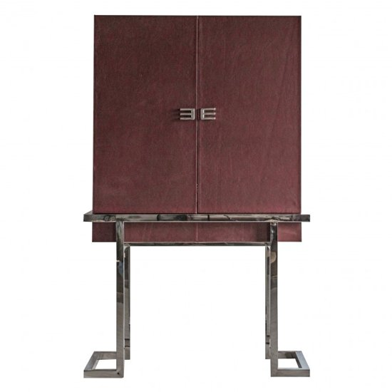 Vernio Red Wooden 2 Doors Drinks Cabinet With Chrome Frame