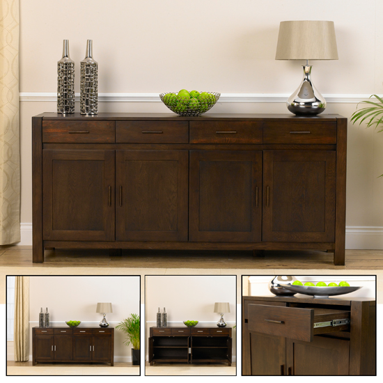 Dark Wood Buffet ~ Milan dark oak buffet sideboard furniture in fashion