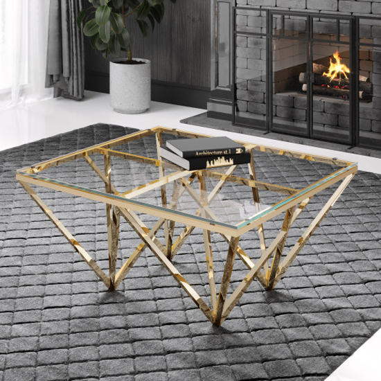 Verona Clear Glass Coffee Table With Gold Stainless Steel Legs