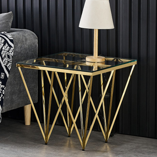 Verona Clear Glass Side Table With Gold Stainless Steel Legs