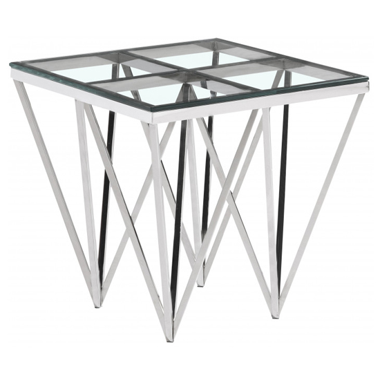 Verona Clear Glass Side Table With Silver Stainless Steel Legs_2