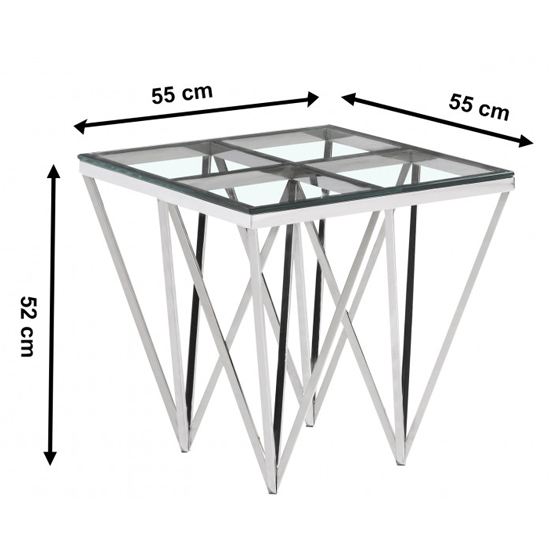 Verona Clear Glass Side Table With Silver Stainless Steel Legs_3
