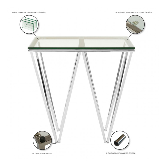 Verona Clear Glass Side Table With Silver Stainless Steel Legs_4