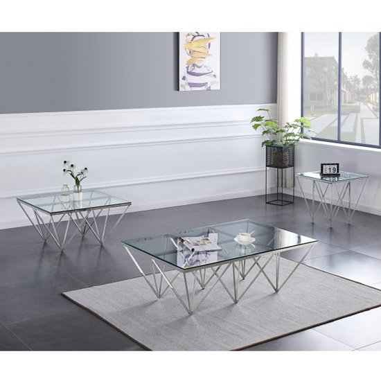 Verona Clear Glass Side Table With Silver Stainless Steel Legs_5