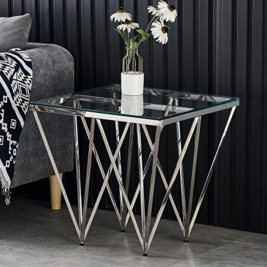 Verona Clear Glass Side Table With Silver Stainless Steel Legs_1