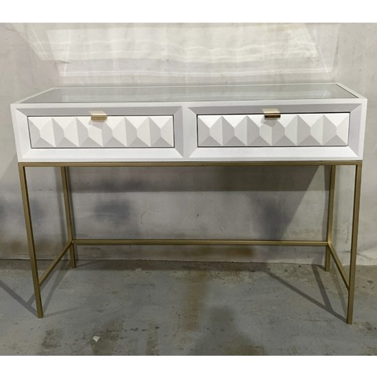 View Veraiza console table in white high gloss with 2 drawers