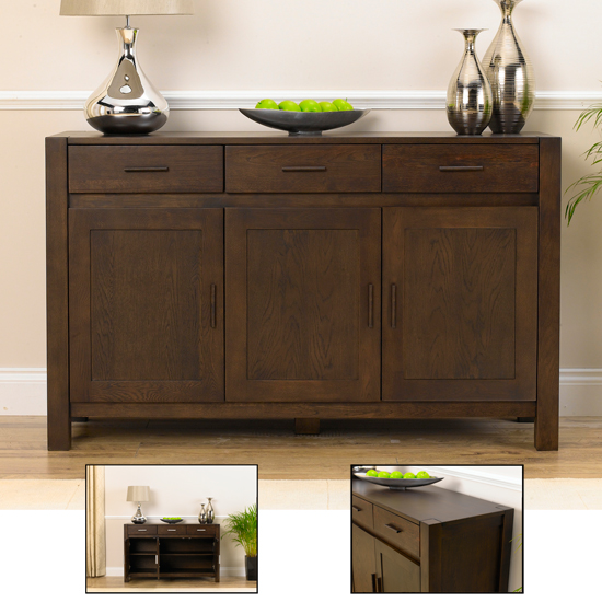 Milan Dark Oak Small Sideboard 14050 Furniture In Fashion Uk