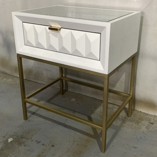 Veraiza End Table In White High Gloss With 1 Drawer_1