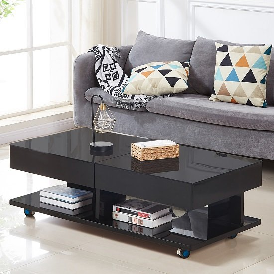 View Verona storage glass coffee table in high gloss black