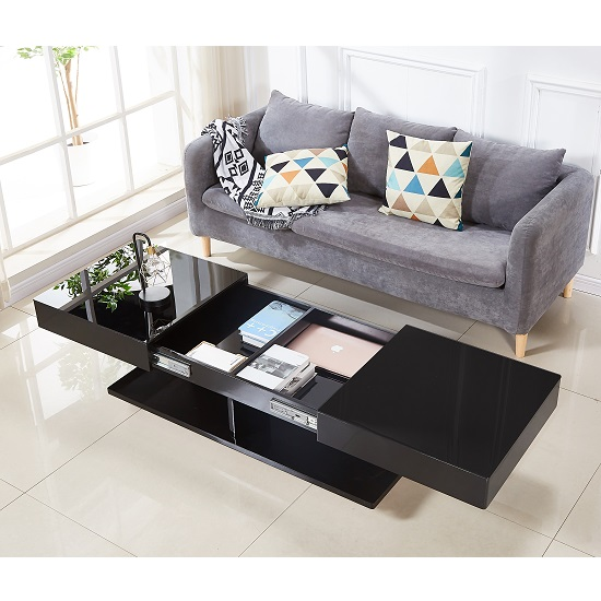 Verona Storage Glass Coffee Table In High Gloss Black_2