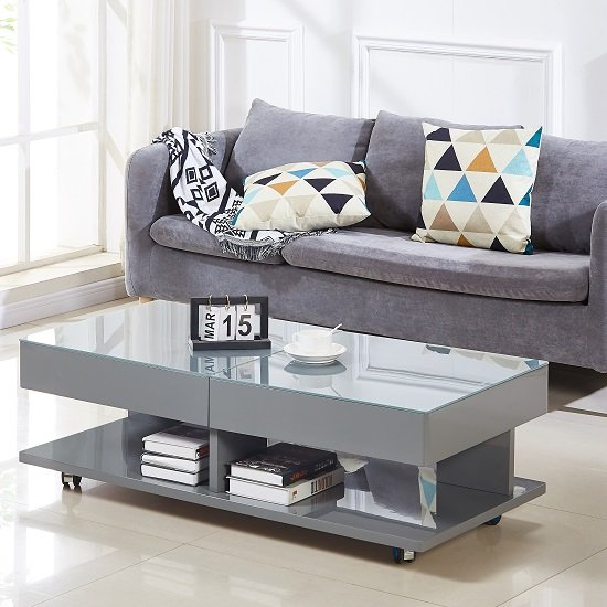 Verona Storage Glass Coffee Table In High Gloss Grey
