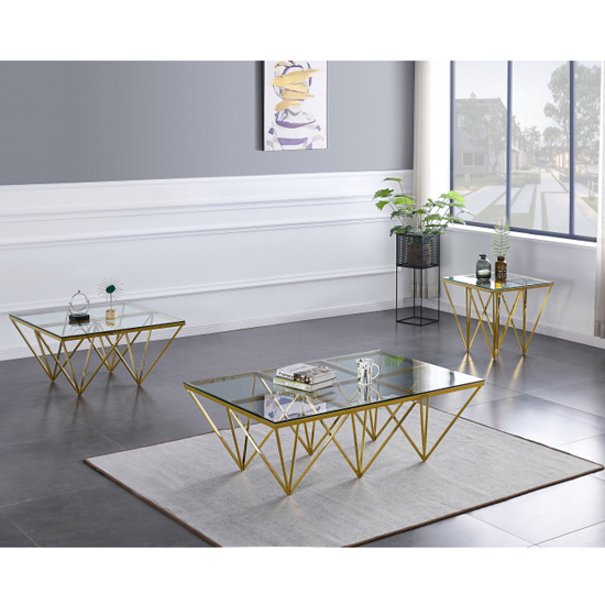 Verona Large Clear Glass Coffee Table With Gold Steel Legs_5