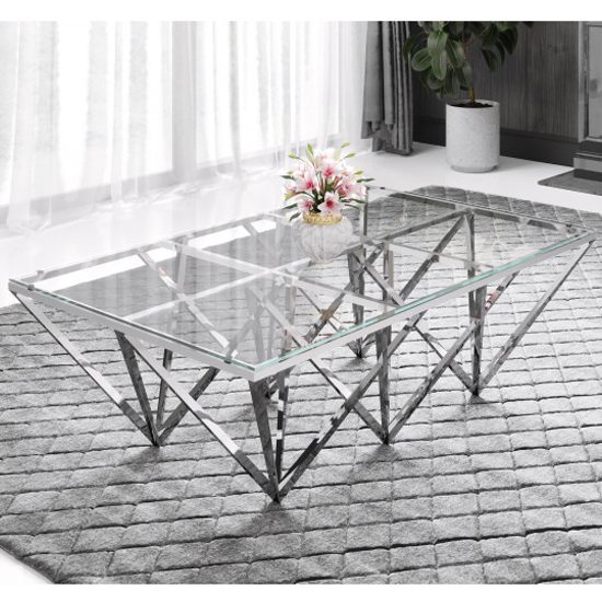 Verona Large Clear Glass Coffee Table With Silver Steel Legs