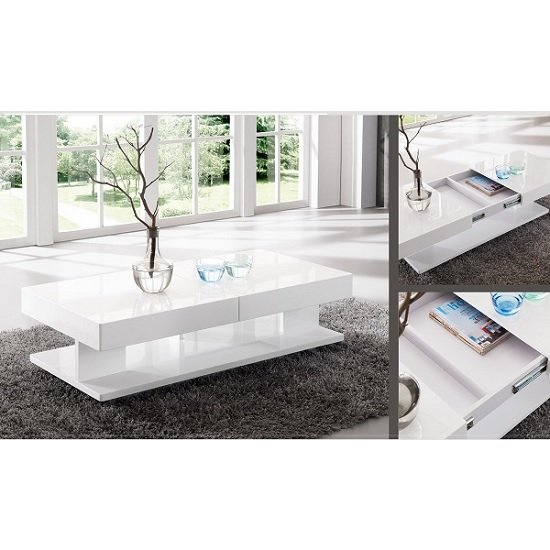 Modern Oval White High Gloss Glossy Lacquer Coffee Table: Verona Extendable High Gloss Coffee Table In White 21025