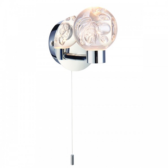 Versa Cystal Ball Wall Light In Silver Finish