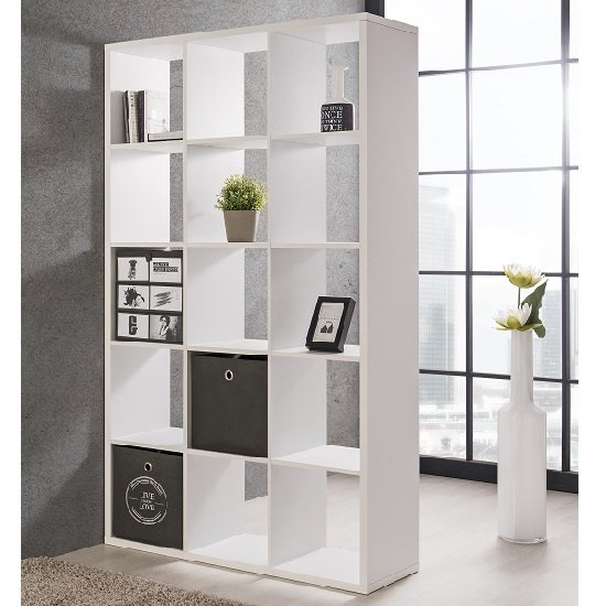 Version Shelving Unit In White With 15 Compartments_1