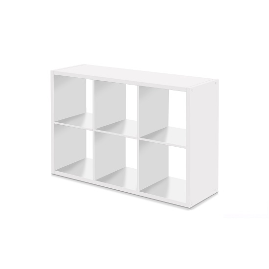 Version Shelving Unit In White With 6 Compartments_3