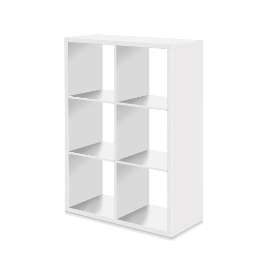 Version Shelving Unit In White With 6 Compartments_2