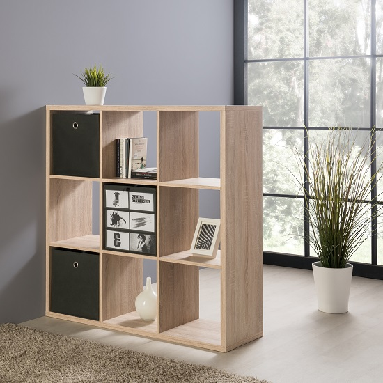 Version Shelving Unit Square In Sonoma Oak With 9 Compartments