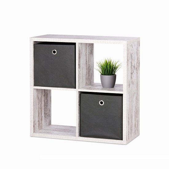 Version Cube Display Unit In Fresco Oak With 4 Compartment