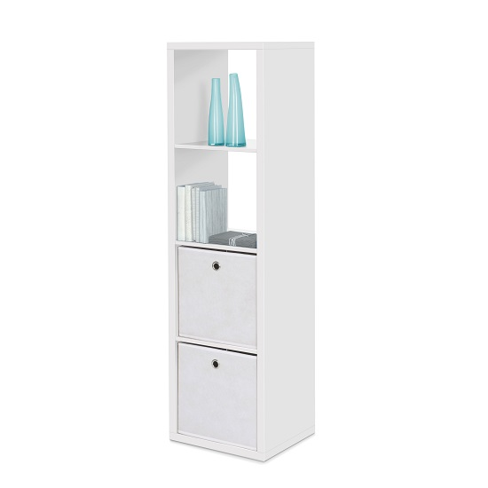 Version Shelving Unit In White With 4 Compartments