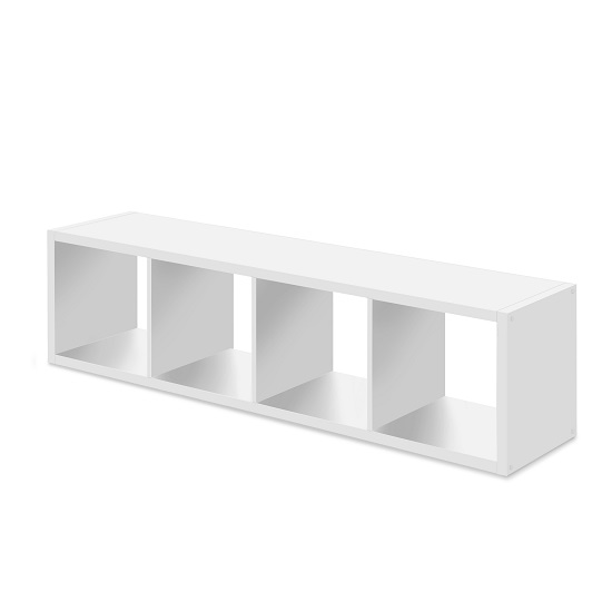 Version Shelving Unit In White With 4 Compartments_3