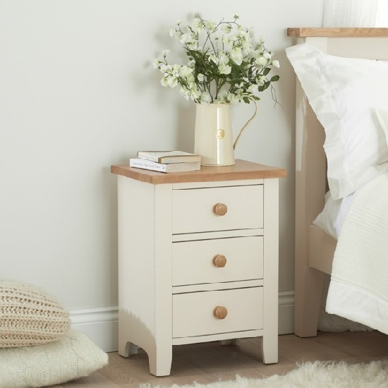 Verso Bedside Cabinet In Ivory White With 3 Drawers