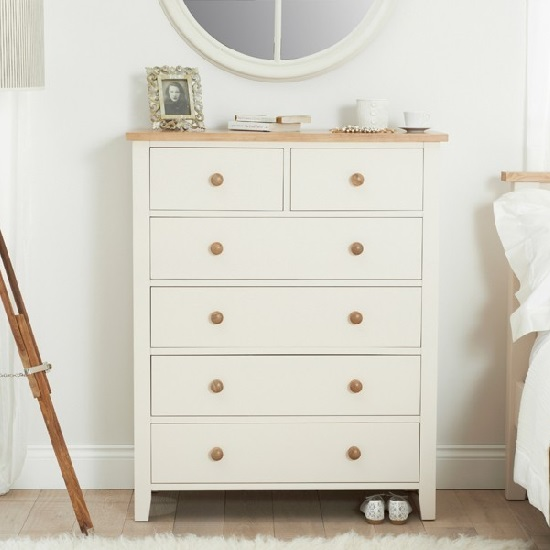 Verso Wooden Chest Of Drawers In Ivory White With 6 Drawers
