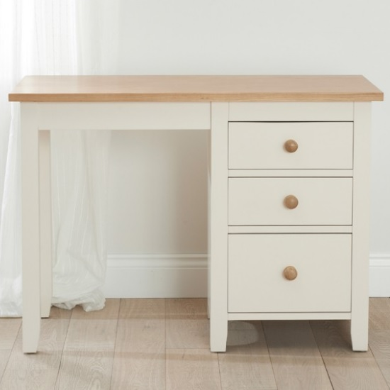 Verso Dressing Table In Solid Pine And Ash With 3 Drawers